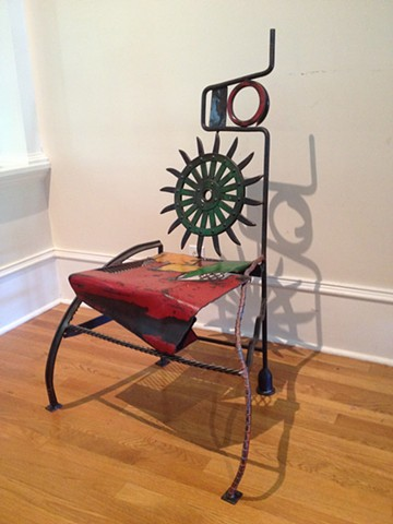 Flying Over Nebraska found object chair by Thomas Prochnow