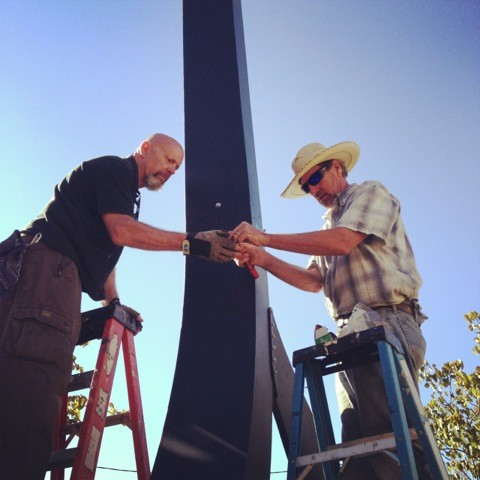 "Installing ""The Laborer"" with artist Richard Sudden"