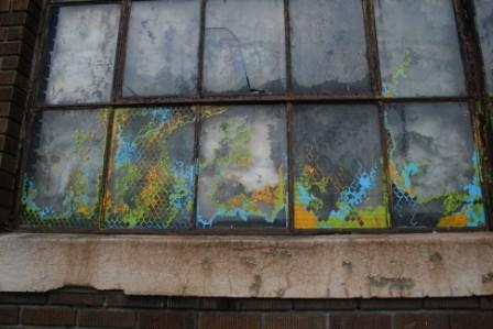 graffiti, guerilla art, industrial art, textured window painting,