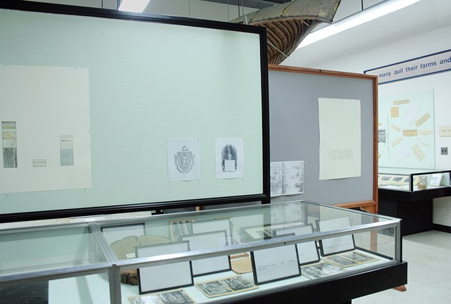 "Installation View, ""We've been to this site."" (View from right at entry)"