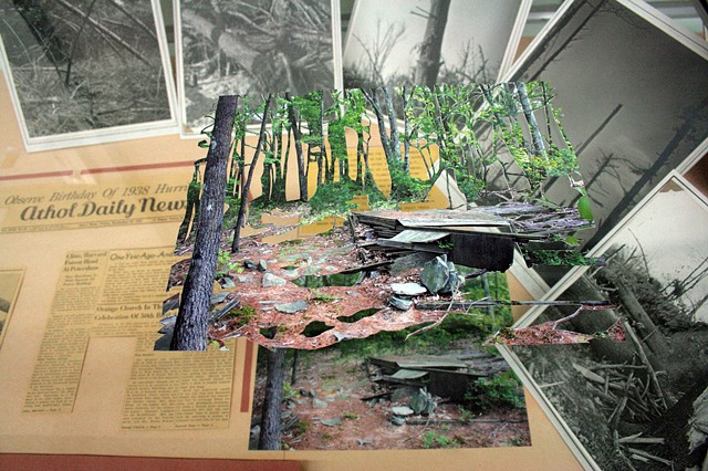 "Installation View, ""We've Been to this Site."" (Detail of display case on far right about the 'The Hurricane of 1938')"