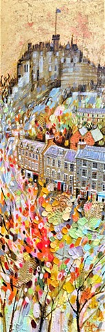 'GREEN & GOLD AT THE GRASSMARKET' Sold