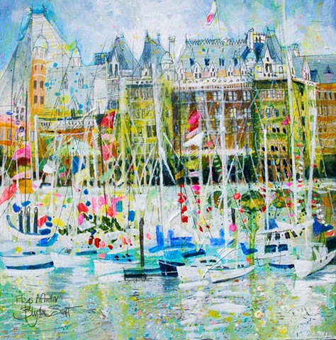 'FLAGS AFLUTTER, THE EMPRESS, VICTORIA BC' Sold