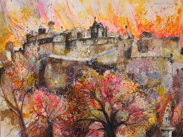 'EVENING GLOW, EDINBURGH' Sold