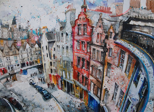 'AT THE FOOT OF WEST BOW, EDINBURGH' Sold