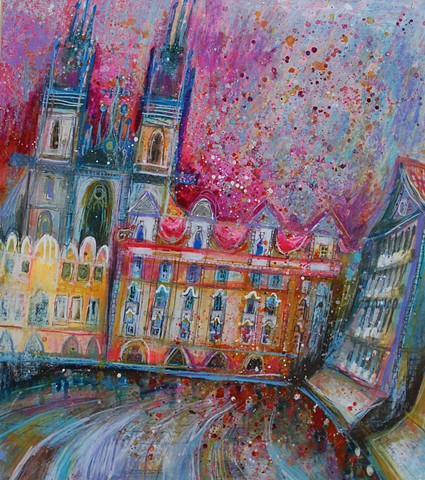 'CITY LIGHTS, PRAGUE'  Sold