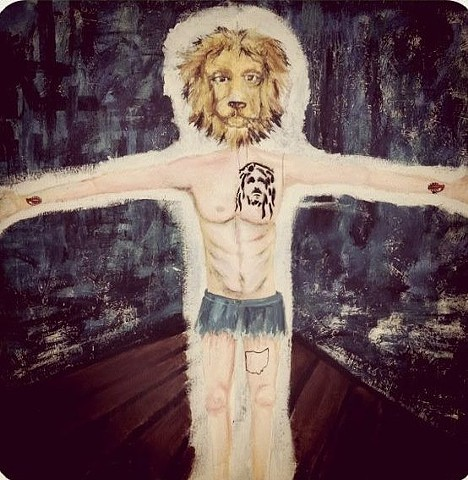 "Urban Scrawl piece with Carolyn Slebodnik  titled ""Lion Hipster Jesus"""