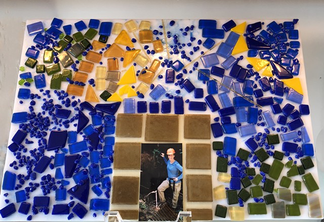 Ode to Gaudi and Barcelona  -  tac fused mosaic glass with space for photo