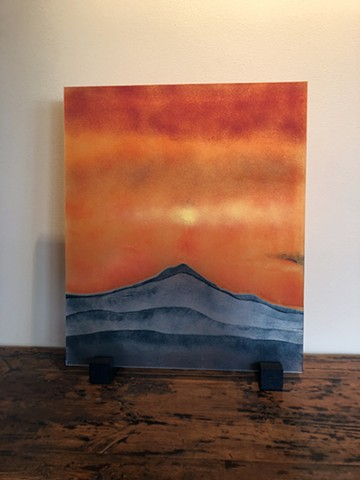 Mt. Hood, Fused Glass, Powder painting