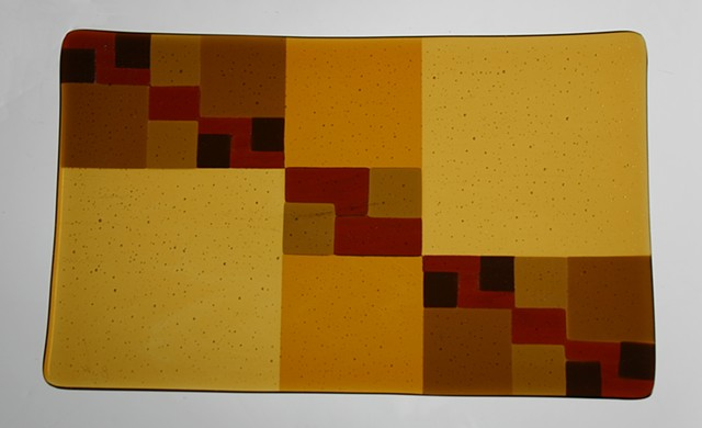 Fused glass golden ratio amber