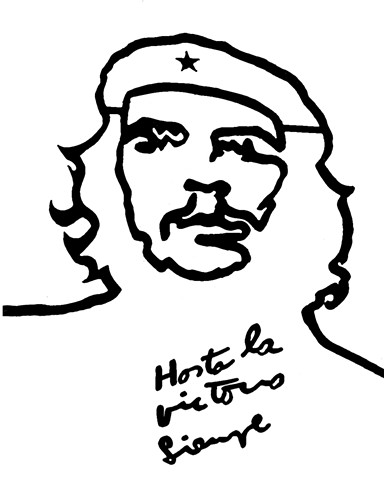 Che Guevara Powder Print on Glass