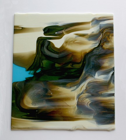 fused glass, glass powder in molten glass, like sea cliffs