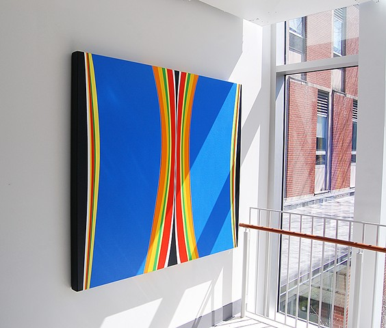 """ Blue Stella "" - installed at Ulmer Hall, Lock Haven University.  58 x 67"" acrylic on canvas"