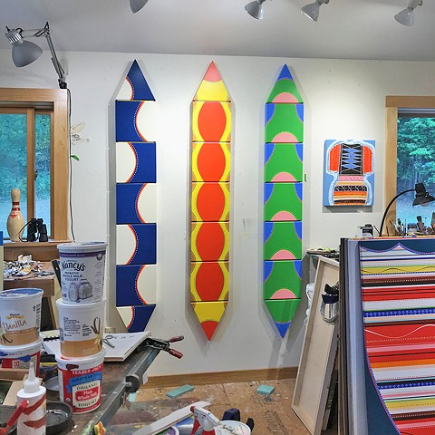 "studio view ( August 2020 ) ""Susquehanna Diver"" ""Roma"" ""Arbutus Bebop"""