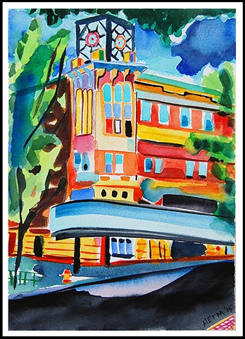 Another watercolor of the theater that I did not use for the program.