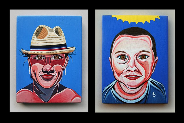 """ D "" and "" R "" from the "" M "" family portrait  acrylic on wood"