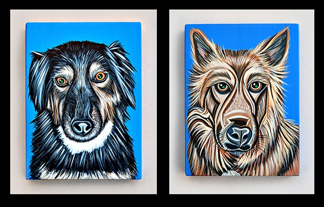 """"""" S """" and  """" L """" from the """" M """" family portrait  acrylic on wood"""