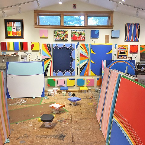 Studio - August 2019 Prior to shows at James Oliver Gallery and Sozo Gallery.