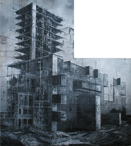 Architects, 190x190 cm oil