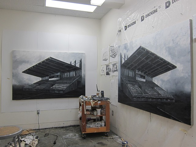 studio shot with stadium paintings in process