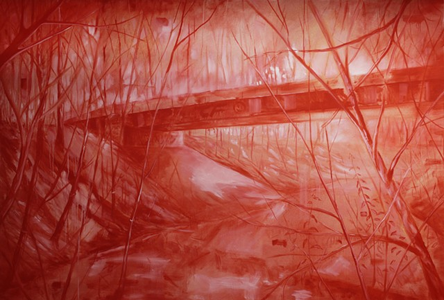 red forest painting contemporary film reference malerei
