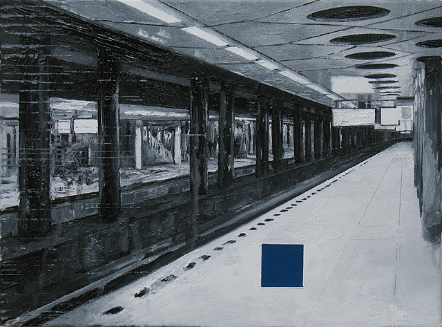 Train-station with blue square