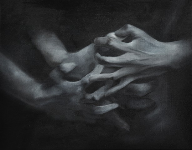 Day to Night, Hands  25x30 cm oil