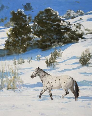 "Cover/ Santa Fean Magazine 12/2013-1/2014 -""SNOW PONY"" 20x16 oil/ sold"