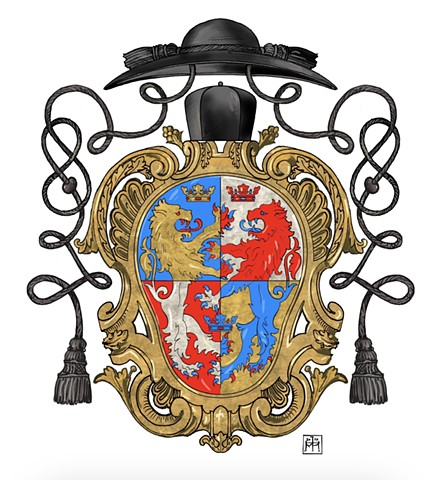 Arms of a bi-ritual (Roman & Byzantine Rite) Ukrainian Greek-Catholic priest, Rome, © 2019, Anatole Upart.