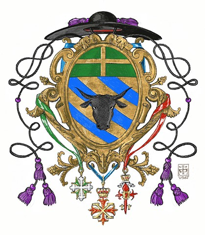 Arms of a Roman Catholic priest, who is also a Chaplain of a chivalric order, Rome, © 2019, Anatole Upart.