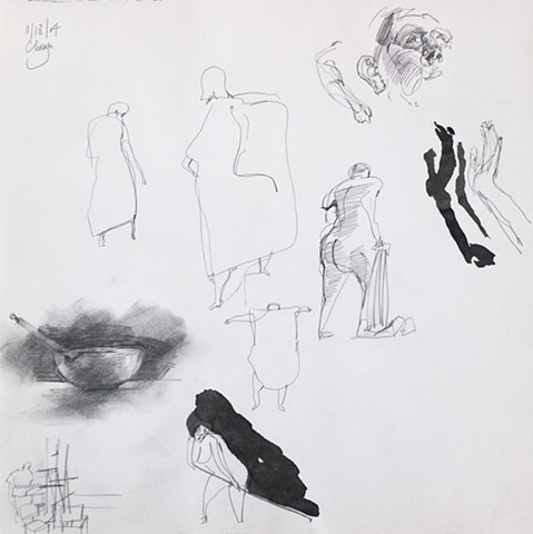 Page with nude and figure sketches