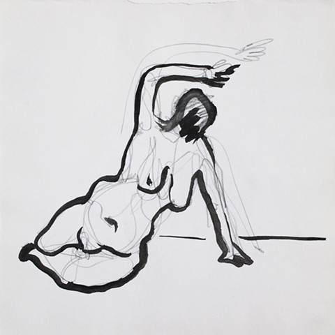 Nude Reclining with an Arm raised