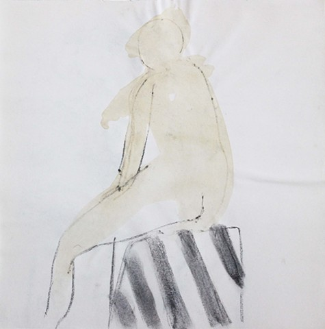 Nude Sitting on the Stool, Striped Drapery 2.