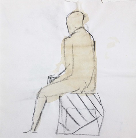 Nude Sitting on the Stool, Striped Drapery.