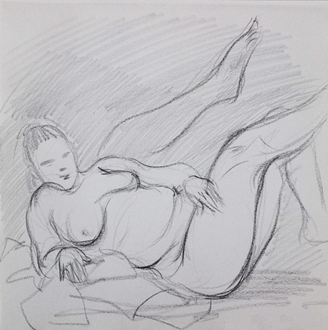 Nude Reclining With Legs Up