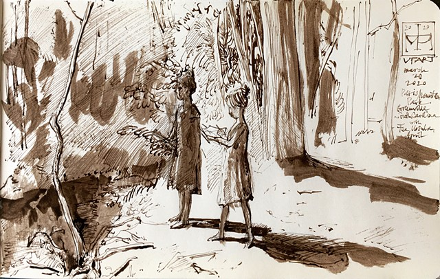 Daughters Sketching in the Paris Mountain State Park