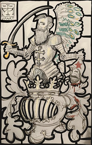 Sketch for the crest of Zukowski family arms as a stained glass window.