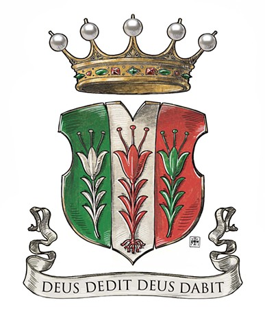 Coat of arms of the Italian noble family Zilia (also known as de Ziliis, Zilli, de Liliis), based on the arms found on their 16th-c. Palazzo Quetta in Trento