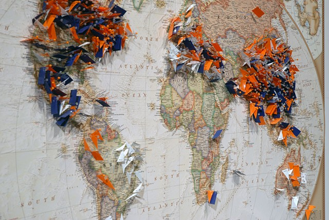 cartography, mapping, borders, recycling paper, 2d map to a 3d world, third world labor, factory