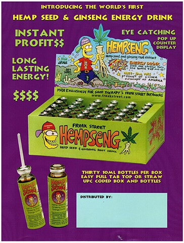 Hempseng Energy Drink by Shop Therapy, artwork by Joey Mars