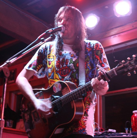 "Evan Dando of The Lemonheads wearing a ""Zidzoii"" Tshirt by Joey Mars"