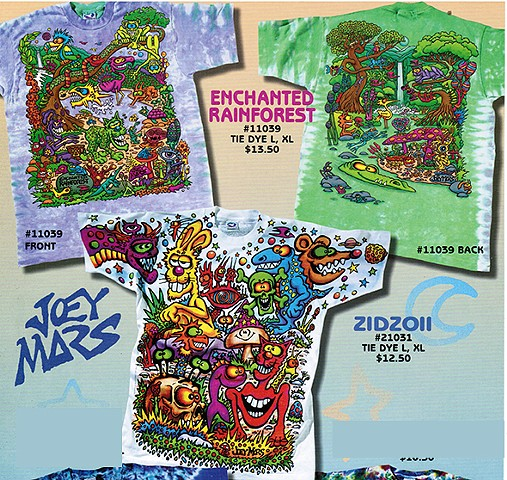 Hidden Rain Forest T shirt and  Zidzoii T-shirts by Joey Mars produced by Liquid Blue