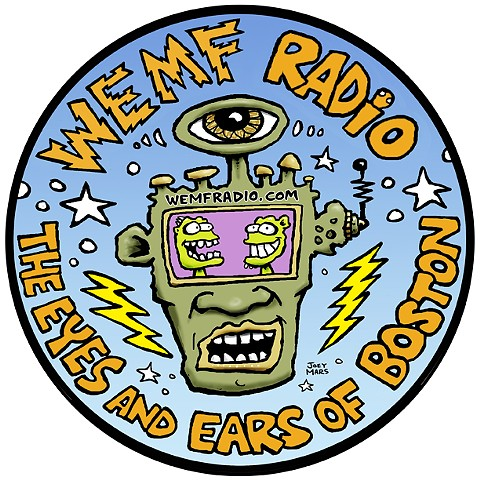 "WEMF promo sticker design ""Eyes and Ears of Boston"