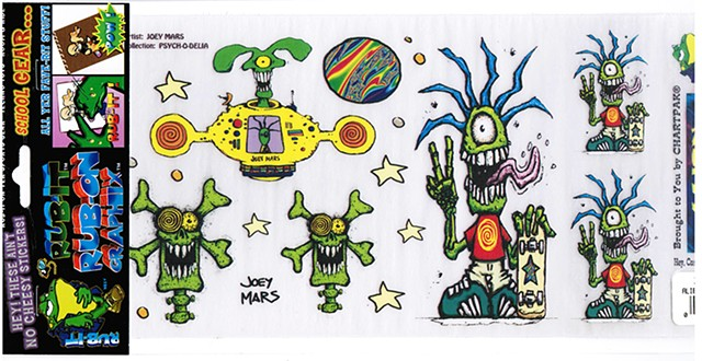 Chartpak Rub on graphics retail pack, Alien Skate Freak pack by Joey Mars