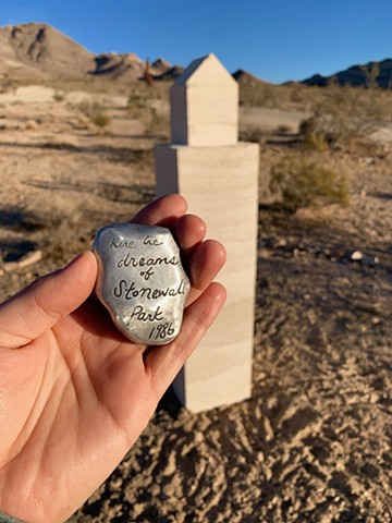 Memorial for Queer Rhyolite, a temporary monument to dreams in the dust.