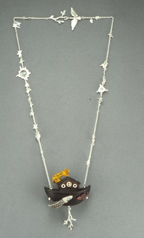 "Heather Croston ""Waiting for the Return of the Dove"" Necklace, sterling silver, ebony, tagua, glass"