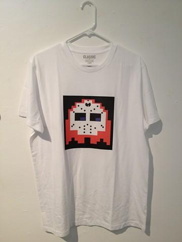 Pacman Ghost wearing a Ghostface Killah mask t-shirt