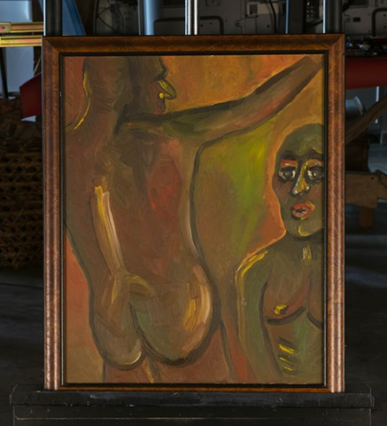 Marianne Levy Primitive Figures oil on canvas painting