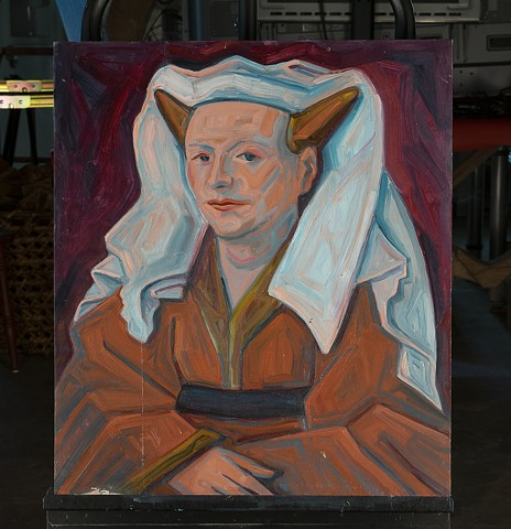 Horned Nun by Marianne Levy Oil on board
