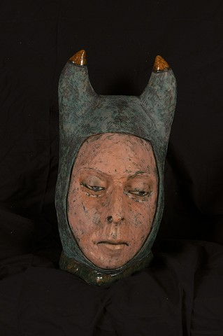 Ceramic Horned Nun by Marianne Levy